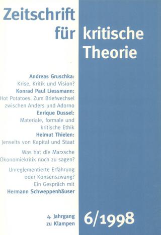 Zeitschrift für kritische Theorie / Zeitschrift für kritische Theorie, Heft 6 - Gerhard Schweppenhäuser; Wolfgang Bock; Sven Kramer