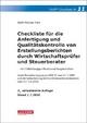 Checkliste für die Anfertigung und Qualitätskontrolle von Erstellungsberichten durch Wirtschaftsprüfer und Steuerberater - Wolf-Michael Farr