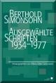 Berthold Simonsohn: Ausgewählte Schriften 1934-1977