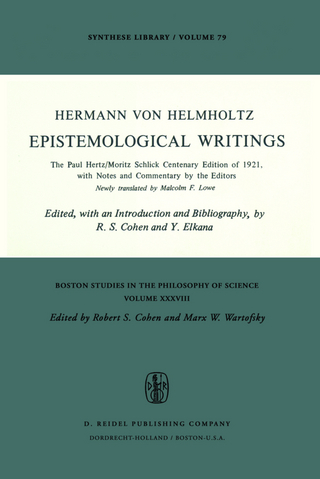 Epistemological Writings - Robert S. Cohen; H. Von Helmholtz; Y. Elkana