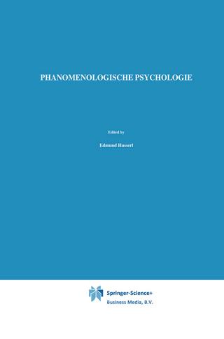 Phanomenologische Psychologie - Edmund Husserl; W. Biemel