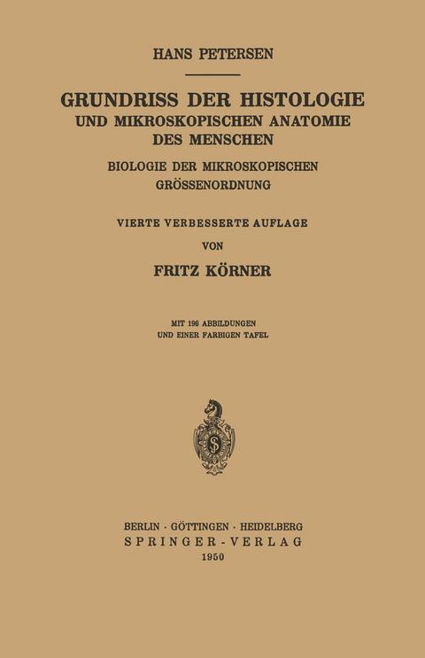 Grundriss der Histologie und Mikroskopischen Anatomie… von Hans ...