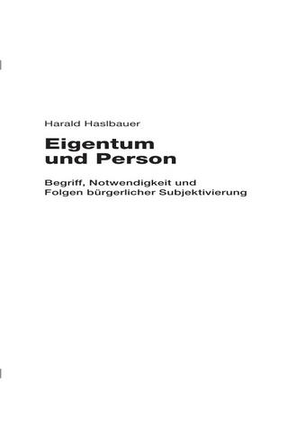 Eigentum und Person - Harald Haslbauer