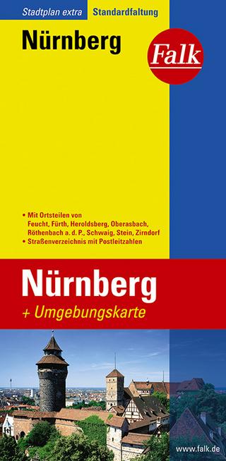 Falk Stadtplan Extra Standardfaltung Nürnberg mit Ortsteilen von Feucht, Fürth