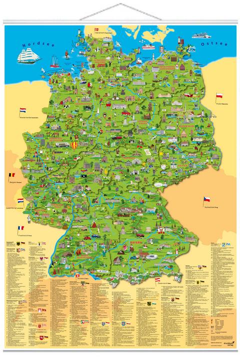 deutschlandkarte zum aufhängen Illustrierte Deutschlandkarte zum Aufhängen von Doris Schönhoff
