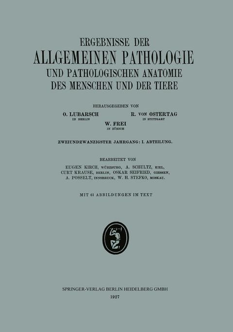 Ergebnisse der Allgemeinen Pathologie und… von Eugen Kirch | ISBN ...