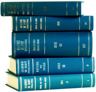 Recueil des cours, Collected Courses, Tome/Volume 250A (Index Tomes/Volumes 1993-1994) - Academie de Droit International de la Ha