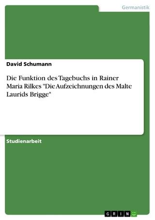 Die Funktion des Tagebuchs in Rainer Maria Rilkes 'Die Aufzeichnungen des Malte Laurids Brigge' - David Schumann