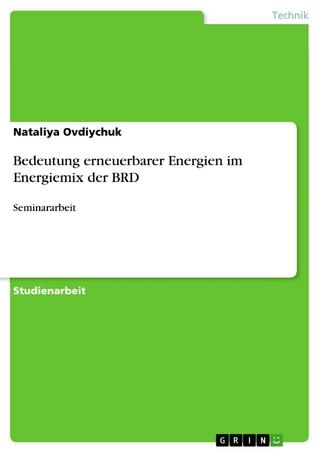 Bedeutung erneuerbarer Energien im Energiemix der BRD - Nataliya Ovdiychuk