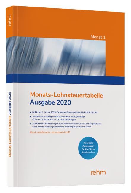 Monats-Lohnsteuertabelle 2020   ISBN 978-3-8073-2717-4 ...